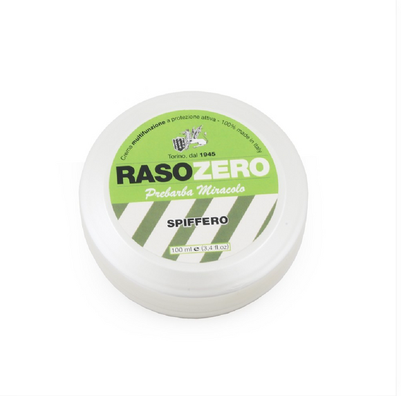 Tcheon Fung Sing Rasozero Artisan Pre Shave Cream  - Spiffero  DETAILS  Rasozero is the new entry level range from Tcheon Fung Sing. Competitively priced, Rasozero Eucalyptus (Spiffero) Pre Shave Cream is a multi-functional pre-shave cream which creates a protective film on the skin capable of greatly increasing the smoothness and glide of the razor.  Tcheon Fung Sing started out as a small shaving company in post-war Turin, 1946. Over the years they've