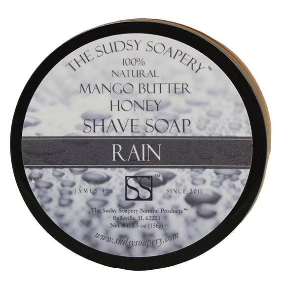 DESCRIPTION:  Supercreamed Mango Butter Shave Soap for Shaving, Rain with Honey and Russian Blue Clay  Our first ever mango butter shaving soap with Honey and Russian Blue Clay is a perfect addition to your shaving routine.   We have carefully crafted Rain with the finest all-natural fragrance that is as fresh as rain in the mountain meadows!   SCENT PROFILE:  Fern-like with top notes of melons and fir needle, jasmine tea tree and fresh floral.