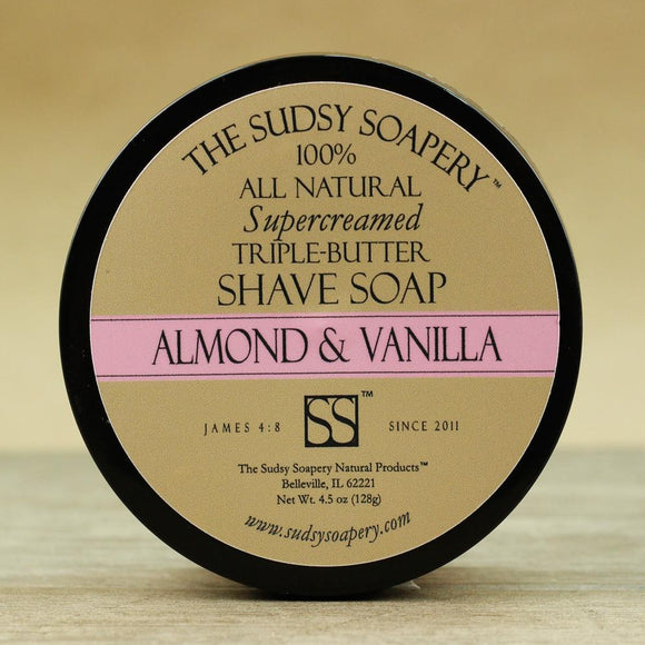 The Sudsy Soapery - Supercreamed Triple Butter Shave Soap - Almond And Vanilla