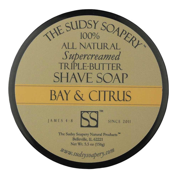 The Sudsy Soapery - Supercreamed Triple Butter Shave Soap - Bay And Citrus