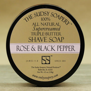 The Sudsy Soapery - Supercreamed Triple Butter Whipped Shave Soap - Rose And Black Pepper