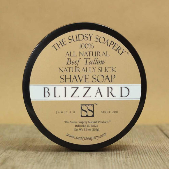 The Sudsy Soapery - Tallow Shave Soap - Blizzard