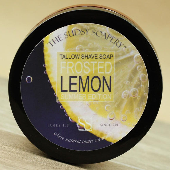 The Sudsy Soapery - Tallow Shave Soap - Frosted Lemon