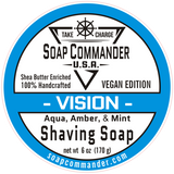 From Soap Commander:  Our Vision scent is clean and crisp, yet suave and composed.   Reminiscent of kayaking through icy waters, this scent contains notes of citrus, black currant, pineapple, honeydew, muguet, and water lily upon a base of vetiver and mulberry.  We couldn't leave Vision alone so we added Peppermint Essential oil to it just to kick it up a notch...A true Soap Commander Favorite!!!