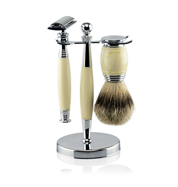 Van Der Hagen 5 Piece Traditional Safety Razor Wet Shave Set- IVORY MARBLE