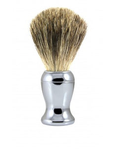 DETAILS  Edwin Jagger Chrome Shaving Brush (Pure Badger).   A contemporary style brush, finished with bright chrome trim and filled with genuine Pure Badger hair. Will provide a good lather when used with a quality shaving cream or soap. Also available with a matching razor and gleaming chrome stand.  Overall height 103mm  Knot size 21mm We recommend that, after daily use, shaving brushes are thoroughly rinsed in warm water and hung to dry in a stand.