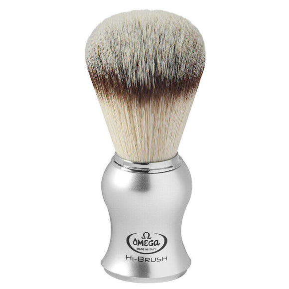 Omega  - Premium Shaving Hi-Brush With Synthetic Hair, Satin Grey Handle 0146229