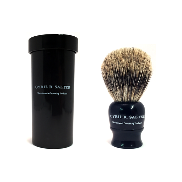 Cyril Salter Pure Badger Ebony Travel Shaving Brush w/ Travel Case