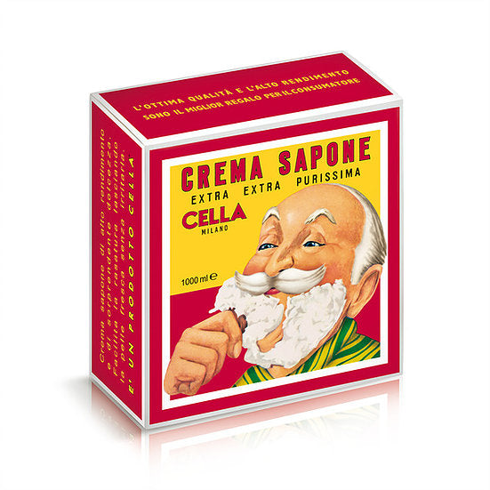CELLA Shaving cream Soap - XL GIANT Size - One Kilo Box 1000GR - almond scent -