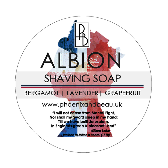 Phoenix and Beau Shave Soap -Albion-  w/ Tallow -  Imported