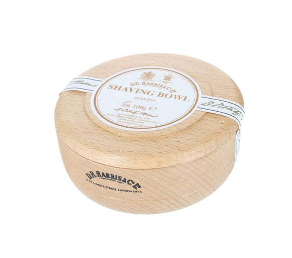 D.R. Harris Almond Shaving Soap - With Beech Bowl