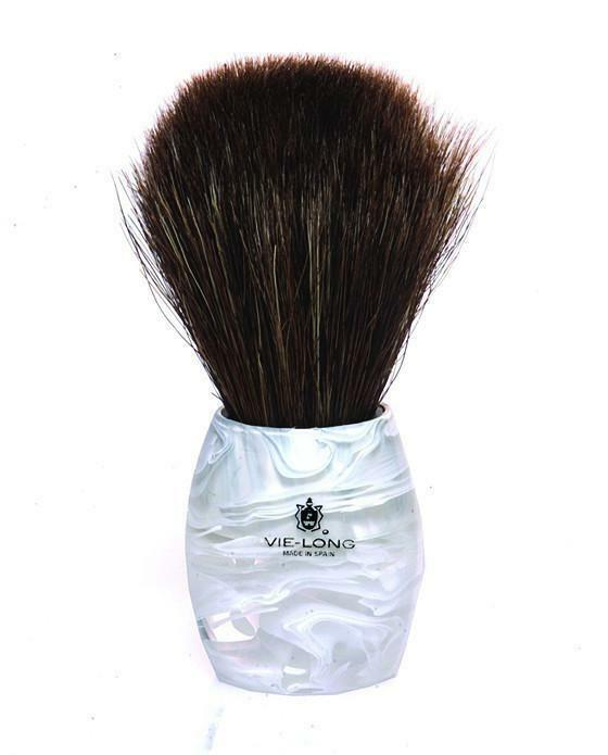 Vie-Long Horse Hair Shaving Brush, Acrylic White & Transparent Handle
