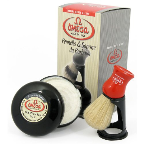 Omega Shaving Brush Set - Pure Bristle Shaving Brush, Stand, Shaving Cream