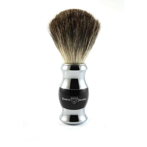 Edwin Jagger Black & Chrome Pure Badger Shaving Brush