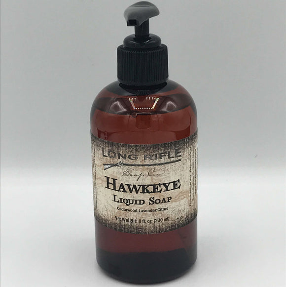 Hawkeye Liquid Soap  Some people want to smell like fruit or flowers, but we don't do that. Our all-natural liquid soaps appeal to men and women alike. This liquid soap that won't dry out your hands, and has a generous lather. Comes in an 8 ounce amber plastic bottle with a black pump.  Ok, so this one is a little fruity. A blend of bergamot, lemongrass and orange essential oils is grounded by cedarwood and lavender essential oils. We bet you'll keep sniffing your hands after you wash them.