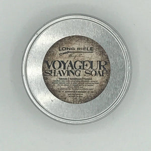 Voyageur 3 oz Shaving Soap Puck  Discover the amazing combination of oakmoss, sandalwood and patchouli in Voyageur. Locally-sourced organic tallow and unrefined shea butter to provide superior lather and post-shave conditioning.  Ingredients: water, locally-sourced organic tallow, coconut oil, potassium hydroxide, sodium hydroxide, aloe vera, unrefined shea butter, fragrance, babassu oil, essential oils. Net weight 3 oz.