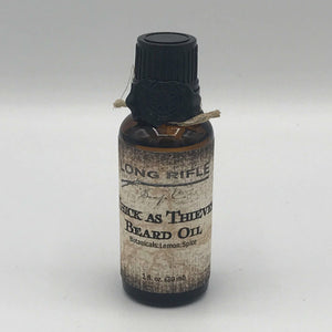 Thick As Thieves Beard Oil  Limited Edition for fall! Our blend of dry oils moisturizes your skin and beard without clogging pores. Thick As Thieves is an herbaceous and spicy blend of lemon, cinnamon, clove, rosemary and eucalyptus essential oils.