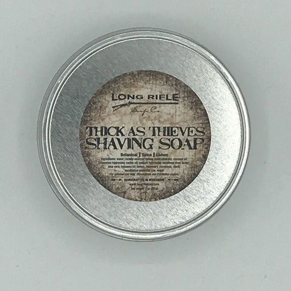Long Rifle Soap Co. Shaving Soap, Thick-As-Thieves 3 oz Puck