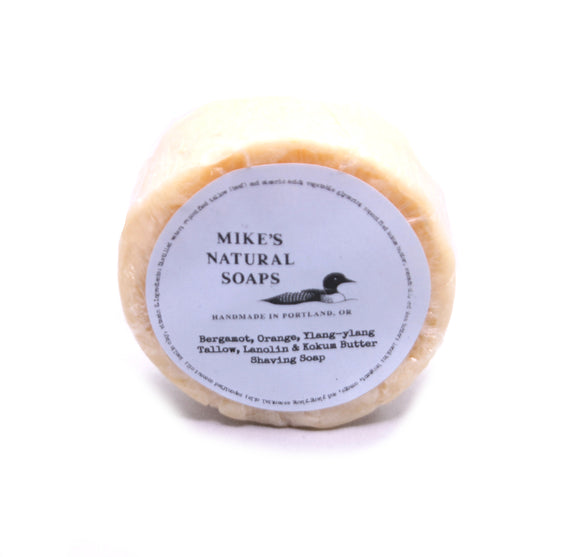 Mike's Natural Soaps -Shaving Soap Puck - Bergamot, Orange, Ylang-Ylang (EO) Scent