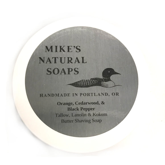 Mike's Natural Shaving Soap - Orange, Cedarwood, & Black Pepper
