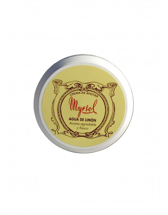 Myrsol Lemon Shaving Cream 150ml. Shaving soap enriched with lanolin. It has been especially formulated for use with a brush. It softens the facial hair making it easier for the blade to slide over the skin smoothly. Its soft creamy texture makes for a thick, dense foam that makes shaving enjoyable. It respects the skin's PH balance and both protects and hydrates.