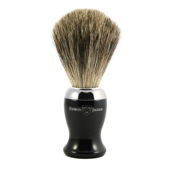 Edwin Jagger Black & Chrome Shaving Brush (Pure Badger).   A contemporary style brush, finished with bright chrome trim and filled with genuine Pure Badger hair. Will provide a good lather when used with a quality shaving cream or soap. Also available with a matching razor and gleaming chrome stand.  Overall height 103mm  Knot size 21mm We recommend that, after daily use, shaving brushes are thoroughly rinsed in warm water and hung to dry in a stand.