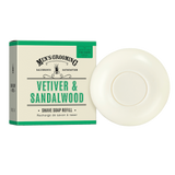 Scottish Fine Soaps - Vetiver & Sandalwood Shave Soap Refill A handy refill of shave soap to fit our vintage shaving bowl. Infused with aromatic Vetiver & Sandalwood, this creamy soap contains hemp oil to reduce irritation and will soften facial hair ready for a smooth, easy shave.