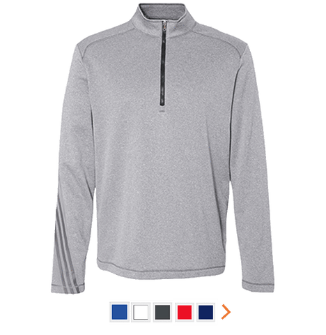 Customizable Adidas Men's Terry Heather Performance Quarter Zip Pullover