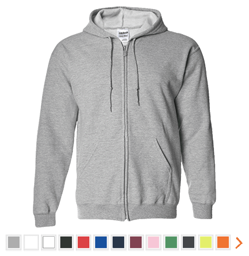 Customizable Gildan Zip Up Hooded Sweatshirt