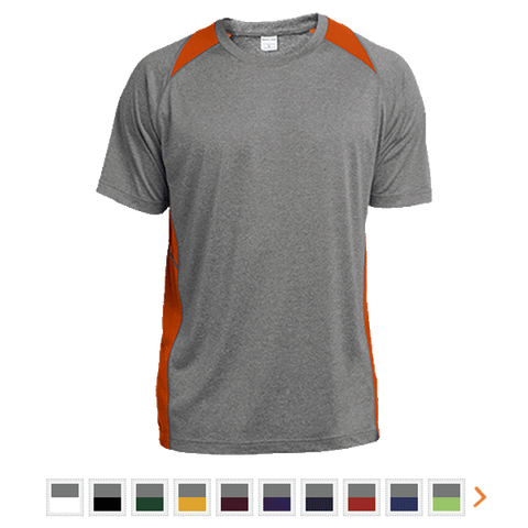 Customizable Sport-Tek Heather Colorblock Poly T-Shirt
