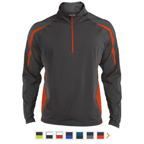 Customizable Sport-Tek Men's Sport Wicking Colorblock 1/2 Zip