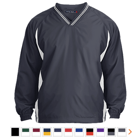 Customizable Sport-Tek Tipped V-Neck Windshirt