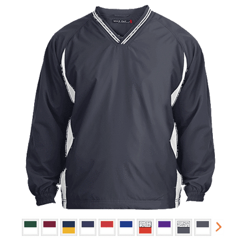 Customizable Sport-Tek Youth Tipped V-Neck Windshirt