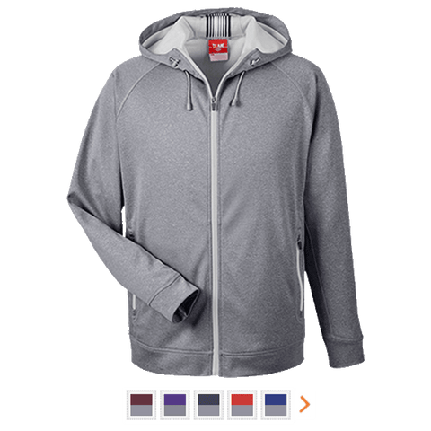 Customizable Team 365 Men's Heathered Performance Hooded Jacket