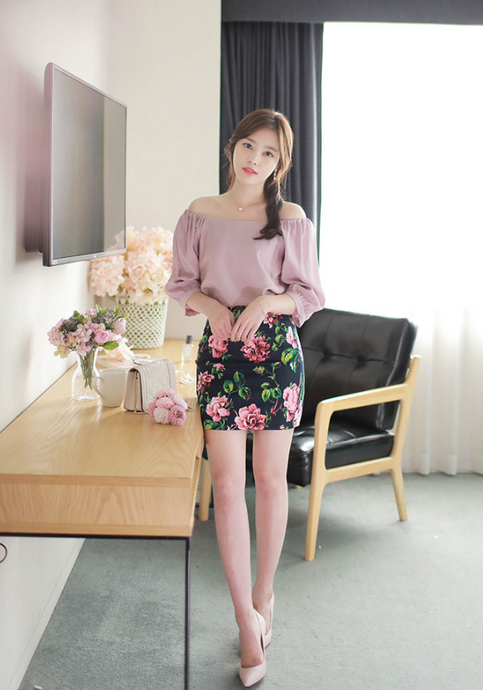 Korean Pretty Shoulders Bow Blouse