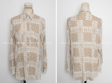 Korean Motif Sassy Blouse Beige