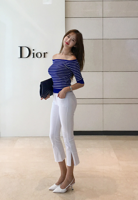 Korean Nautical Off Shoulders Top