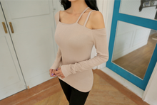Korean Sassy Double Straps Blouse Beige
