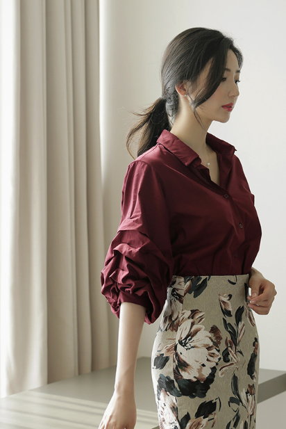 Korean Structured Puffy Sleeves Blouse Wine