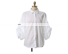 Korean Structured Puffy Sleeves Blouse White