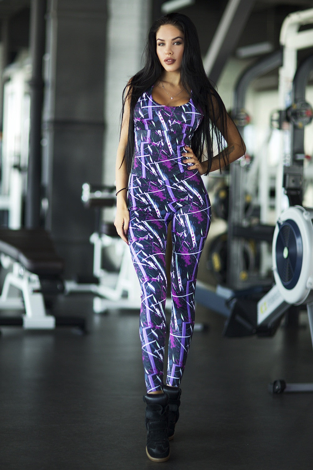 Abstract Violet Jumpsuit