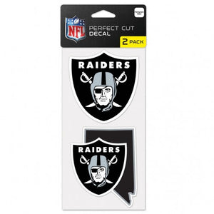 "LAS VEGAS RAIDERS STATE SHAPE PERFECT CUT DECALSET OF TWO 4""X4"""