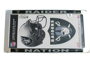 Las Vegas Raiders NFL Thin Rim Value Chrome Frame w/Bonus Decals