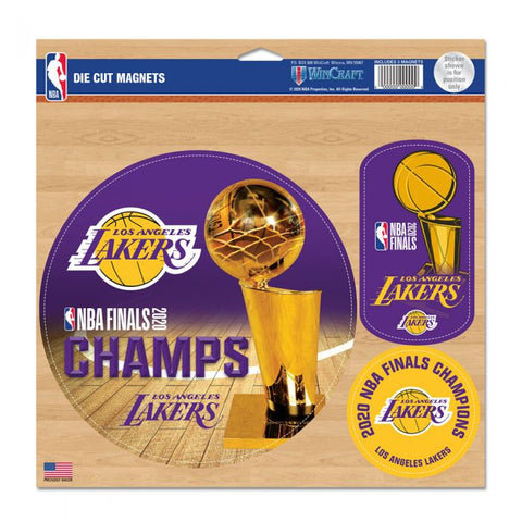 "WORLD CHAMPIONS LOS ANGELES LAKERS VINYL MAGNET 11"" X 11"""