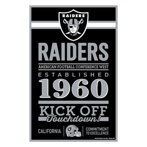 Las Vegas Raiders Sign 11x17 Wood Established Design