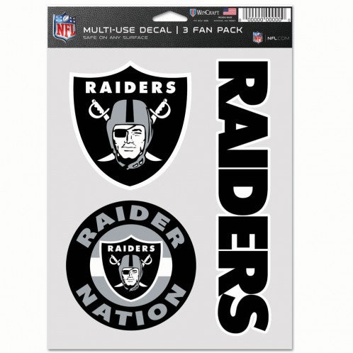 Las Vegas Raiders NFL Decal Multi Use Fan - Pack of 3
