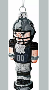 Las Vegas Raiders Football Logo NFL Blown Glass Nutcracker Christmas Tree Ornament