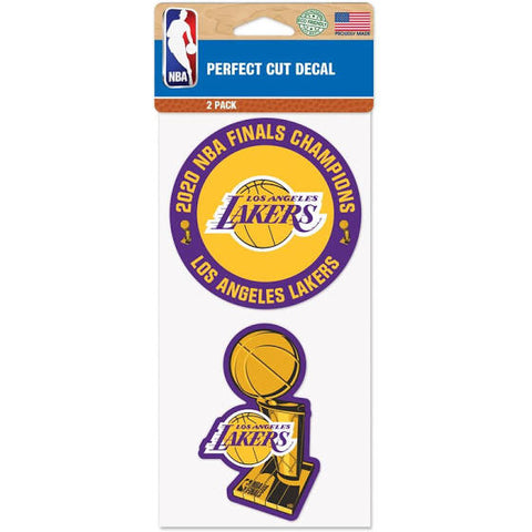 Los Angeles Lakers WinCraft 2020 NBA Finals Champions 4'' x 8'' Perfect Cut Decal 2-Pack