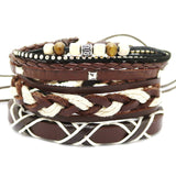 1 Set 4PCS leather bracelet Men's multi-layer bead bracelet women's retro punk casual men's jewelry bracelet jewelry accessories-Devices Depot-HYG37B-KoolWish.com