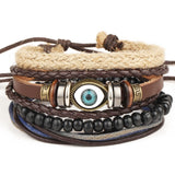 1 Set 4PCS leather bracelet Men's multi-layer bead bracelet women's retro punk casual men's jewelry bracelet jewelry accessories-Devices Depot-HZS15A-KoolWish.com